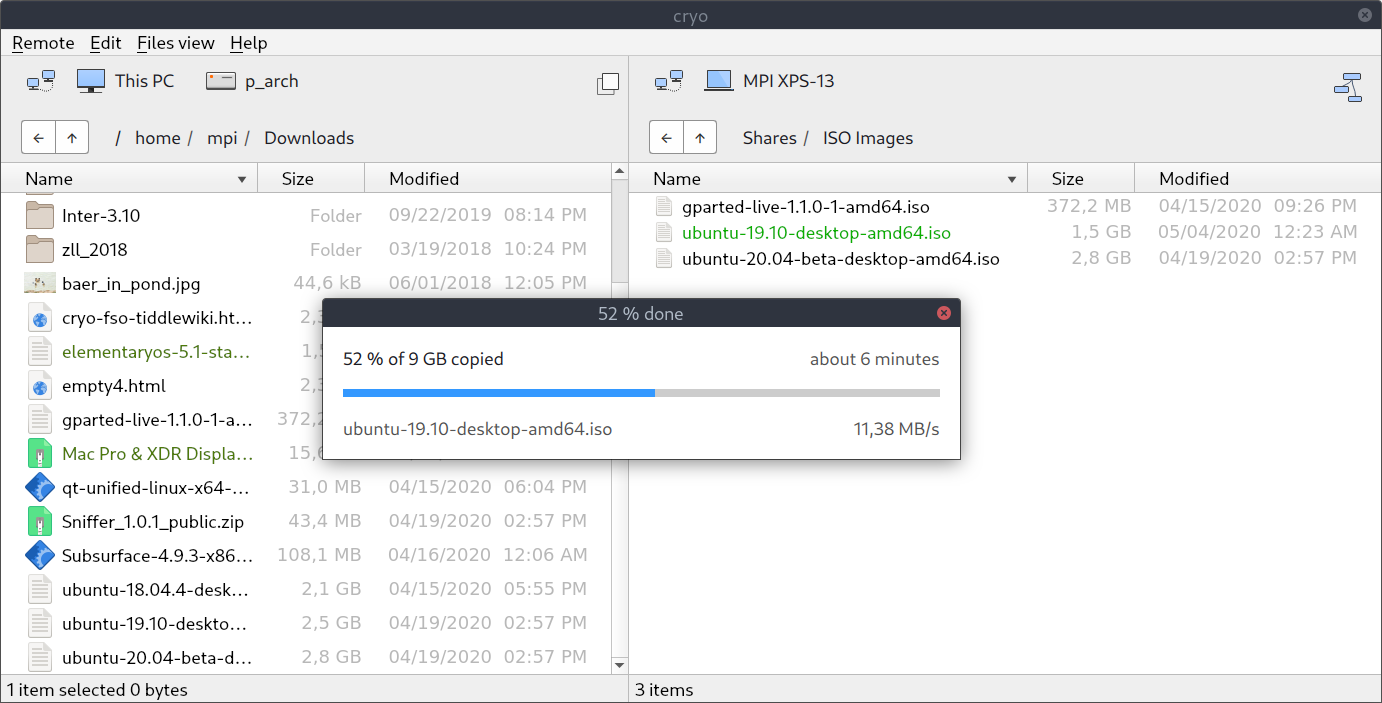 Screenshot of a peer to peer large file transfer